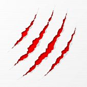 stock photo of slash  - Easy editable vector illustration of claws scratches - JPG
