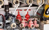 picture of fire brigade  - equipments and tools of firefighters to fire off - JPG