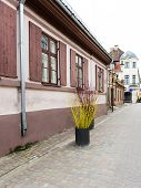 foto of old stone fence  - old historical buildings in old town of Kuldiga Latvia - JPG