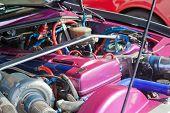 stock photo of carburetor  - Powerfull engine of a luxurous sport car - JPG