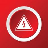 stock photo of voltage  - Round white icon with image of high voltage sign - JPG