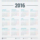 stock photo of monday  - Calendar 2016 Vector Design Template - JPG