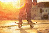 stock photo of street-art  - Child with skateboard on the street at sunset light - JPG