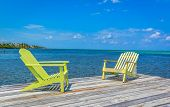 stock photo of dock  - on a dock over the Caribbean Sea - JPG