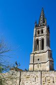 stock photo of bordeaux  - the bell tower of the monolithic church in Saint Emilion Bordeaux France - JPG