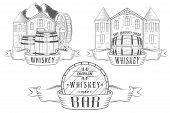 pic of whiskey  - Vector set illustration logo and badges for alcohol bar tavern and department whiskey or beer and wine in shop - JPG