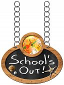 foto of oval  - Oval blackboard with a colorful clock and text School - JPG