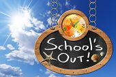 picture of oval  - Oval blackboard with a colorful clock and text School is Out seashells and starfish - JPG