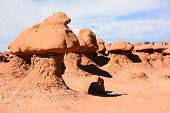 image of hoodoo  - Goblin Valley was originally named Mushroom Valley after the shape of the hoodoos found there - JPG