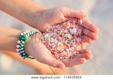 Close up of a little girl holding pink shells in her hands  Pink sand beach  on Barbuda island in Car poster