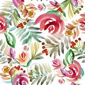 Постер, плакат: Folk floral ornament Floral watercolor drawing folk style painting Floral background Garden flow