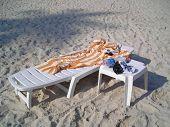Single White Deck Chair - Life Is A Beach