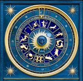 stock photo of zodiac sign  - blue zodiac clock with gold deatail and decoration - JPG
