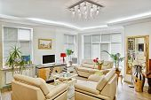 Modern Art Deco Style Drawing-room Interior With Beige Leather Furniture