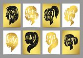 Set templates womens elegant silhouettes with different hairstyles and calligraphy poster