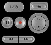 Natural Silver Grey Metallic Dvd Recorder Buttons Set, Isolated Macro