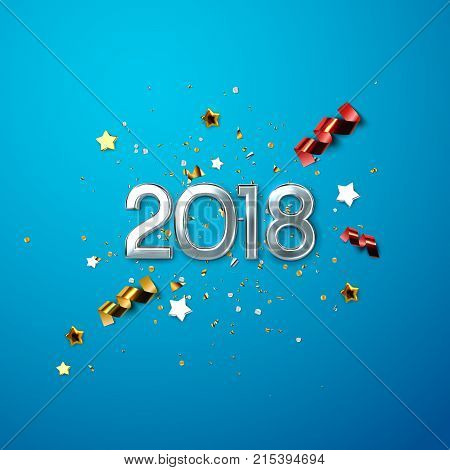 poster of Realistic 2018 silver numbers and festive confetti, stars and streamer ribbons on blue background. Vector holiday illustration. Happy New 2018 Year. New year ornament. Decoration element with tinsel