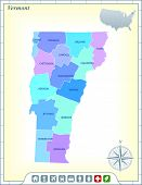 Vermont State Map with Community Assistance and Activates Icons Original Illustration