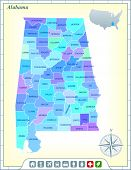 Alabama State Map with Community Assistance and Activates Icons Original Illustration