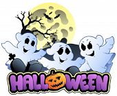 Halloween sign and image 1 - vector illustration.