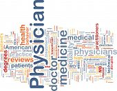 Background concept wordcloud illustration of physician