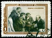 Vintage Postage Stamp.  Lenin And Peasants.