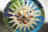 Mosaic On Ceiling Of Hypostyle Room, Park Guell, Barcelona, Spain