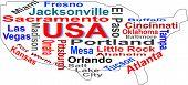 Nuvem de palavras EUA mapa com maiores cidades americanas