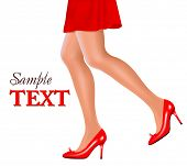 Waist-down view of woman wearing red high heel shoes. Concept of beauty and fashion. Vector illustration.