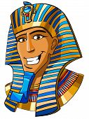stock photo of ramses  - Cartoon smiling face of Egyptian pharaoh on a white background - JPG