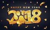 Vector Stock 2018 New Year Lettering With Shining Gold Dog Paw Print. Happy New Year Celebrate Greet poster