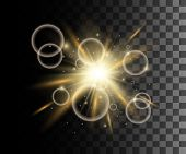 Glow Isolated Yellow Transparent Effect, Lens Flare, Explosion, Glitter, Line, Sun Flash, Spark And poster