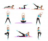 Collage with beautiful young woman doing different exercises on white background poster