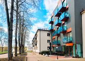 Street View On Contemporary European Apartment Building Complex poster