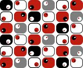 Retro Red Black White Grey Squares Dots (vector)
