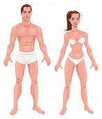 Man en vrouw. Vector geïsoleerd tekens