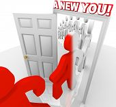 Several people walk through a doorway marked A New You, representing the self-improvement and reinve