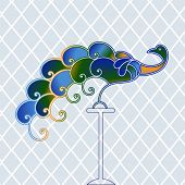 stock photo of bric-a-brac  - Peacock with diamond pattern background - JPG