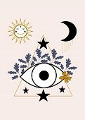 Eye, Leaves And Celestial Elements. Vector Icon poster