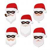 Christmas Set Of Secret Santas In Masks And Het poster
