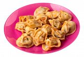 Dumplings On A Pink  Plate Isolated On White Background. Dumplings In Tomato Sauce. Dumplings Top Si poster