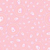 Russian Ruble Copper Coins Seamless Pattern. Flawless Scattered Pink Rub Coins. Success Concept. Rus poster