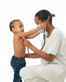 Black African American Nurse With Child Isolated