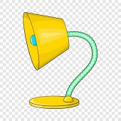 Yellow Table Lamp Icon. Cartoon Illustration Of Lamp Icon For Web Design poster