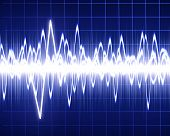 stock photo of blue-screen-of-death  - Heart beat on hospital monitor on a dark blue background - JPG