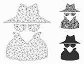 Mesh Spy Model With Triangle Mosaic Icon. Wire Carcass Polygonal Mesh Of Spy. Vector Mosaic Of Trian poster