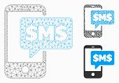 Mesh Phone Sms Model With Triangle Mosaic Icon. Wire Carcass Triangular Mesh Of Phone Sms. Vector Mo poster