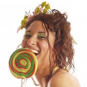 image of african american hair styles  - Summer girl with wild messy hair and a big happy lollipop - JPG