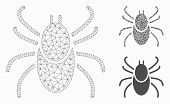 Mesh Mite Tick Model With Triangle Mosaic Icon. Wire Carcass Polygonal Mesh Of Mite Tick. Vector Mos poster
