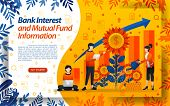 Banking To Save Mutual Funds. Good Bank Interest. Water The Flowers, Concept Vector Ilustration. Can poster